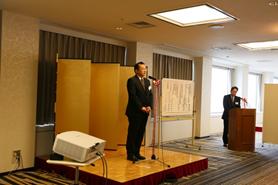 第41回学術研究助成金受贈者代表挨拶の田中芳彦氏
